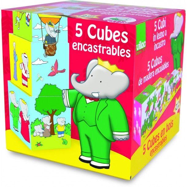 Cubes en bois empilables Babar