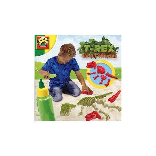Tyrannosaure avec du sable coloré