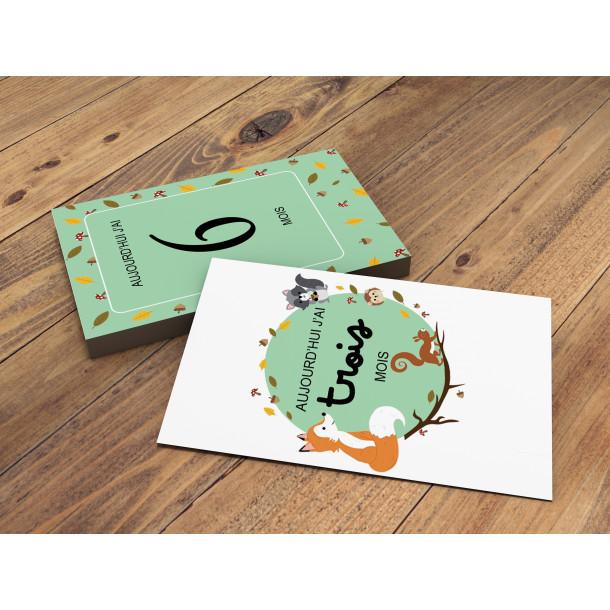 Carte 1ère année de bébé « Animaux de la Forêt »