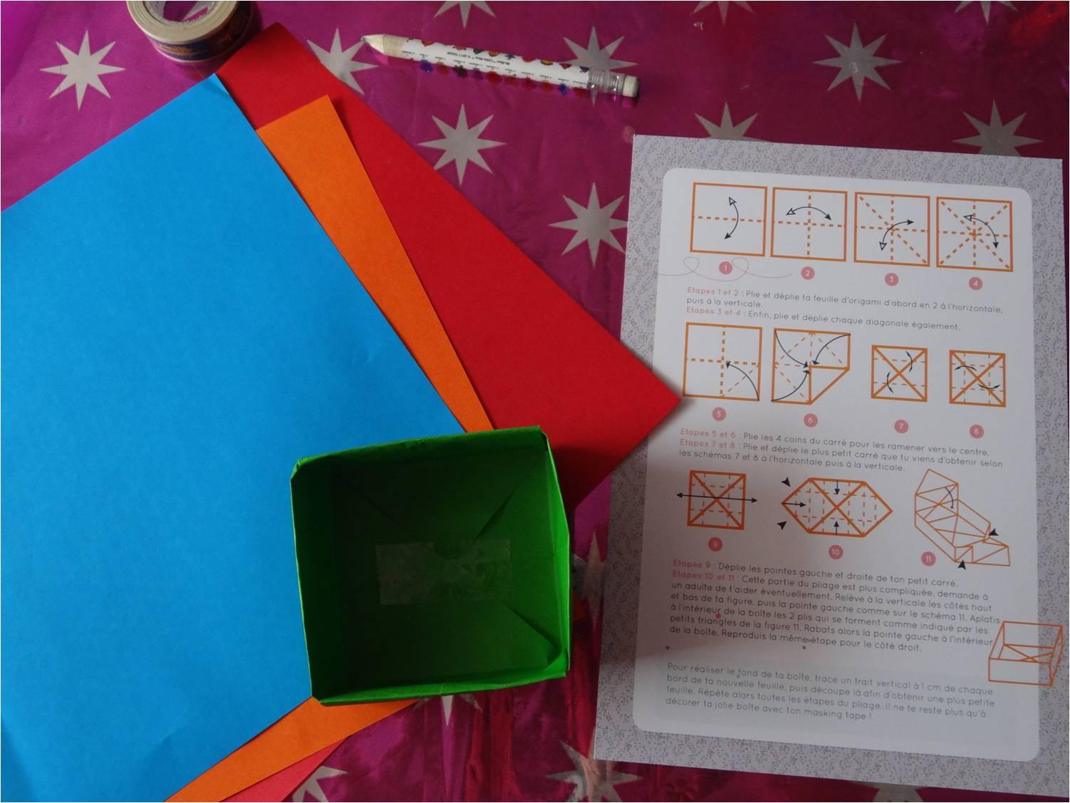 origami - réaliser une boîte en papier origami